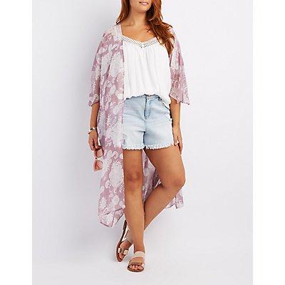 Plus Size Paisley Print Duster Kimono