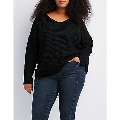 Plus Size Shaker Stitch Pullover Sweater