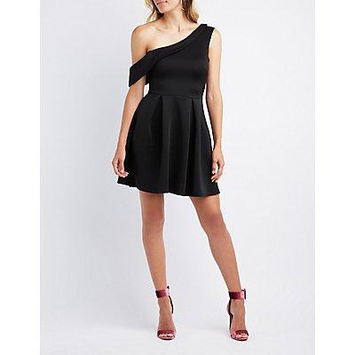One-Shoulder Scuba Skater Dress