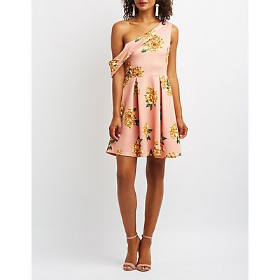 Floral One-Shoulder Skater Dress