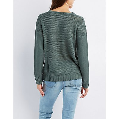 Shaker Stitch Lace-Up Front Sweater
