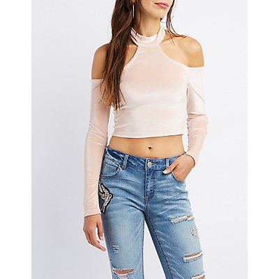 Mock Neck Cold Shoulder Skimmer Top