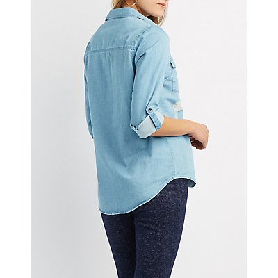 Destroyed Chambray Button-Up