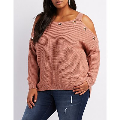 Plus Size Grommet-Trim Cold Shoulder Sweater