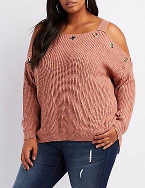 Plus Size Grommet-Trim Cold Shoulder Sweater