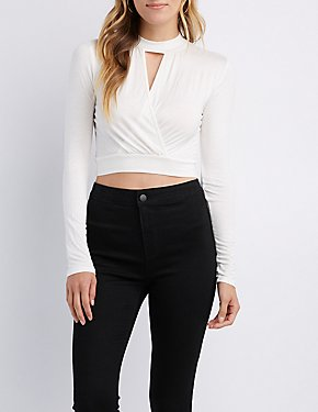 Choker Neck Surplice Crop Top