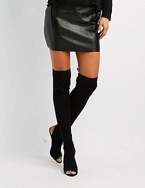 Peep Toe Lucite Heel Thigh-High Boots