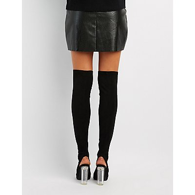 Peep Toe Clear Heel Thigh-High Boots