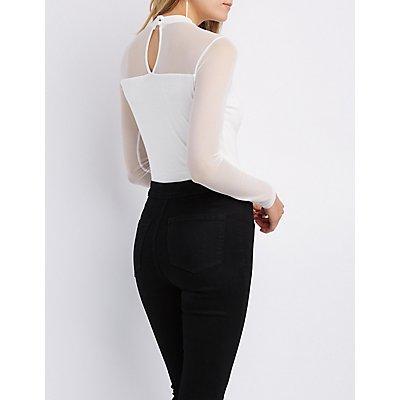 Mesh Yoke Lace-Up Detail Bodysuit
