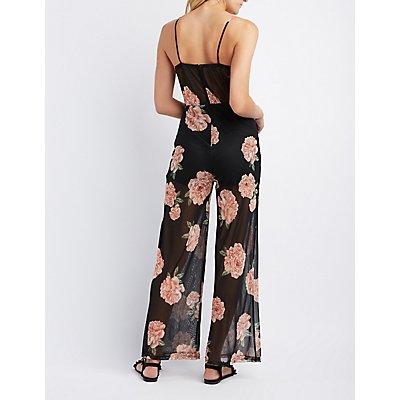 Floral Print Mesh Tie-Front Romper