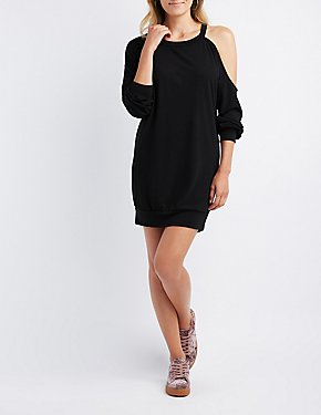 Asymmetrical Cold Shoulder Sweatshirt Dress
