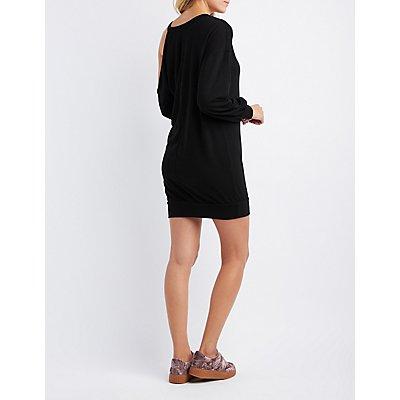 Asymmetrical Cold Shoulder Sweatshirt Dress
