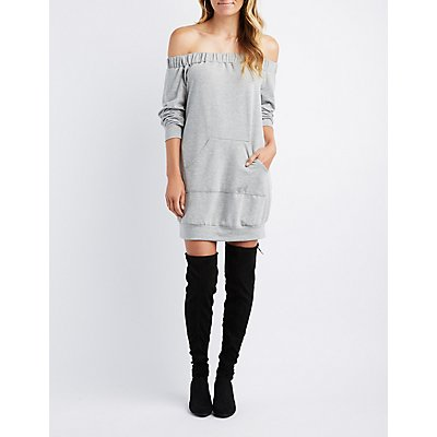 Off-The-Shoulder Sweatshirt Dress