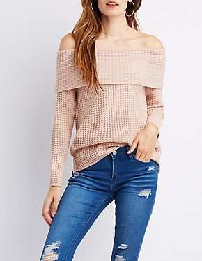 Off-The-Shoulder Waffle Knit Sweater