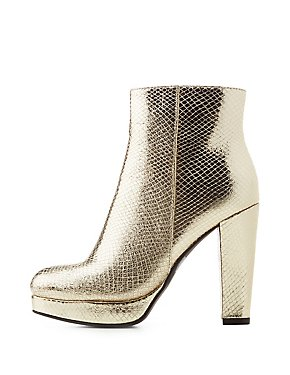 Bamboo Metallic Platform Ankle Booties