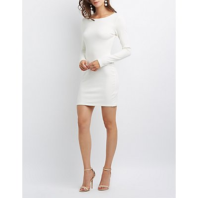 Notched Open-Back Bodycon Dress
