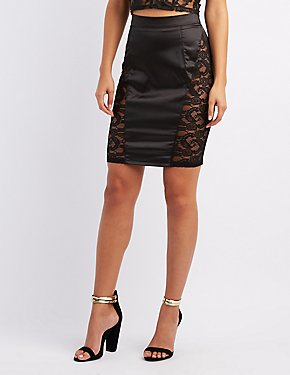 Lace-Trim Pencil Skirt