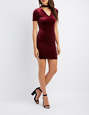 Velvet Mock Neck Cut-Out Bodycon Dress