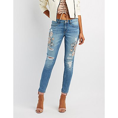 Refuge Floral Print Destroyed Skinny Jeans
