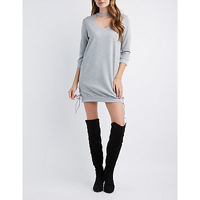 Mock Neck Cut-Out Lace-Up Sides Sweatshirt Dress