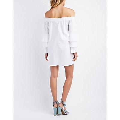 Off-The-Shoulder Ruffle-Trim Bell Sleeve Shift Dress