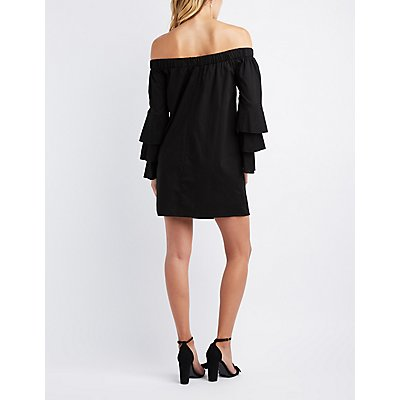 Off-The-Shoulder Ruffle Bell Sleeve Shift Dress