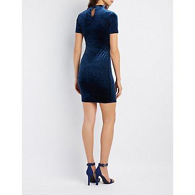 Velvet Mock Neck Cut-Out Bodycon Dress