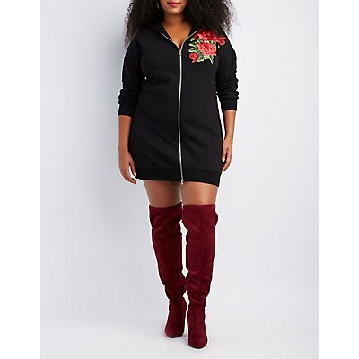 Plus Size Embroidered Zip-Up Hoody Dress