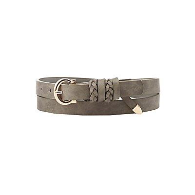 Plus Size Braid-Trim Faux Leather Belt