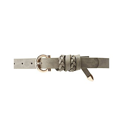 Plus Size Braid-Trim Faux Leather Belt