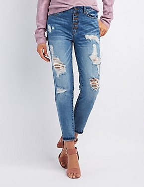 Crop Destroyed Boyfriend Jeans