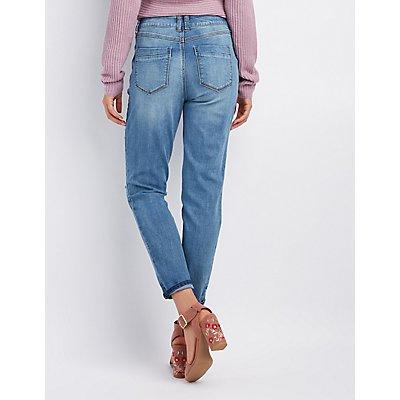 Crop Destroyed Boyfriend Jeans