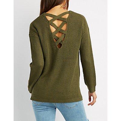 Shaker Stitch Lace-Up Back Sweater