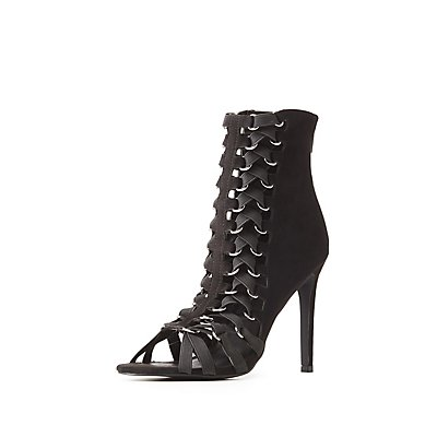 Caged D-Ring Peep Toe Booties