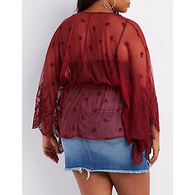 Plus Size Lace Bell Sleeve Tie-Front Kimono