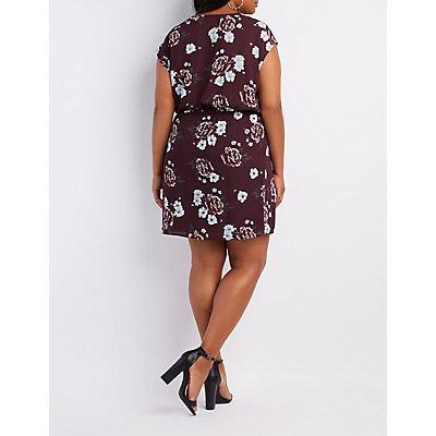 Plus Size Floral Surplice Dolman Dress