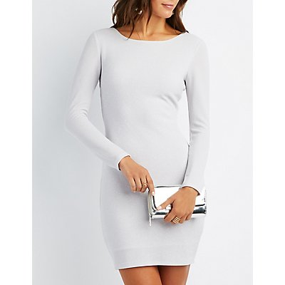 Shimmer Knit Open-Back Bodycon Dress