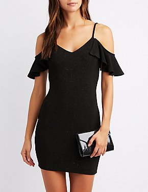 Glitter Ruffle Cold Shoulder Bodycon Dress