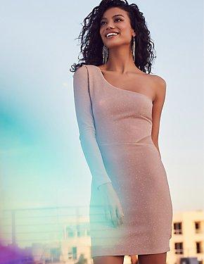 Glitter One Shoulder Mesh-Inset Bodycon Dress