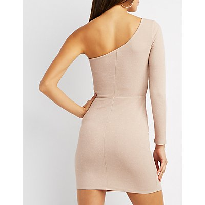 Glitter One Shoulder Mesh-Inset Bodycon Dress