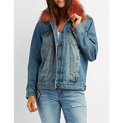 Refuge Faux Fur-Trim Denim Jacket