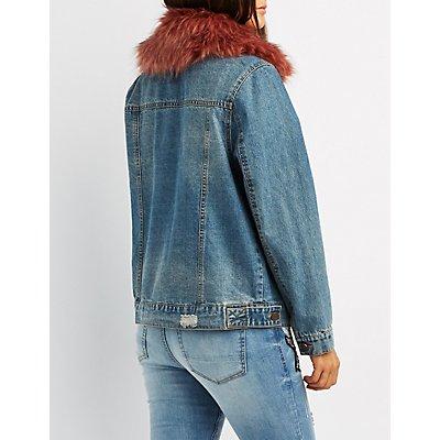 Refuge Faux Fur-Trim Denim Jacket