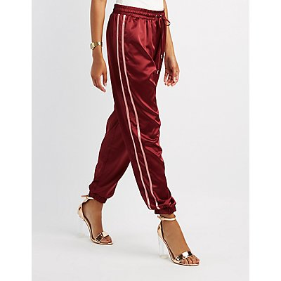 Satin Varsity Stripe Jogger Pants