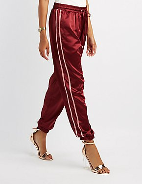 Satin Varsity Stripe Jogger Pants