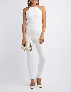 Scalloped Bib Neck Jumpsuit