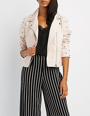 Studded Faux Leather Moto Jacket