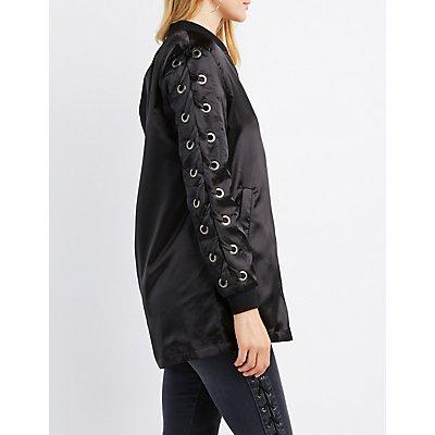 Lace-Up Sleeve Bomber Jacket