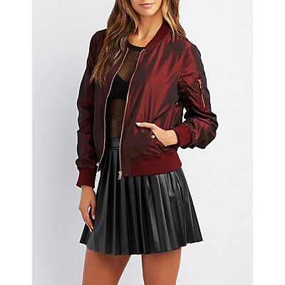 Ruched Iridescent Bomber Jacket