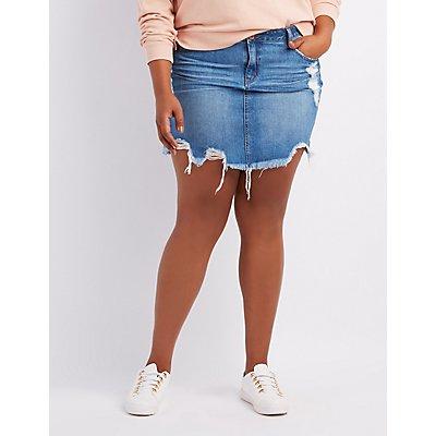 Plus Size Refuge Destroyed Denim Skirt