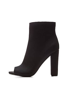 Satin Peep Toe Ankle Booties